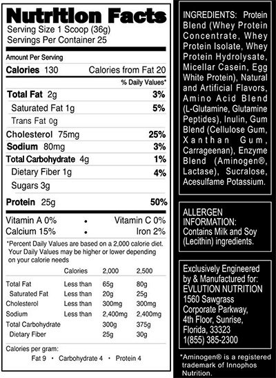 Nutrition Facts For Evl S Upcoming Stacked Protein Released